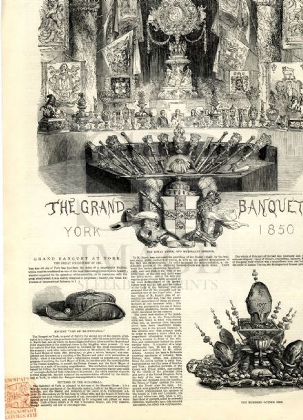 1850 ILLUSTRATED LONDON NEWS York Guildhall Banquet NEWMARKET LANDGRAVE (3540)